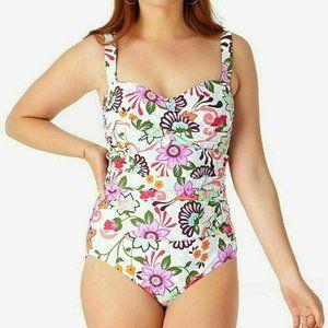 NEW!!! Anne Cole Floral Bandeau One-Piece Swimsuit
